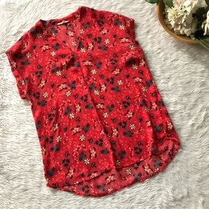 Pleione Red Floral Top